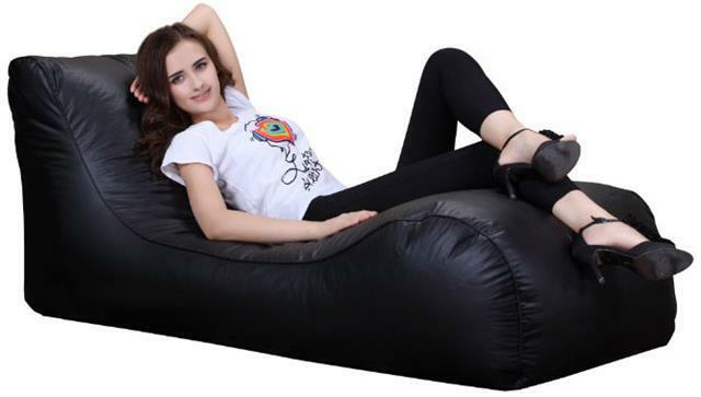 Xxxl Beanbag Chaise Leather Lounger Chair Indoor Outdoor