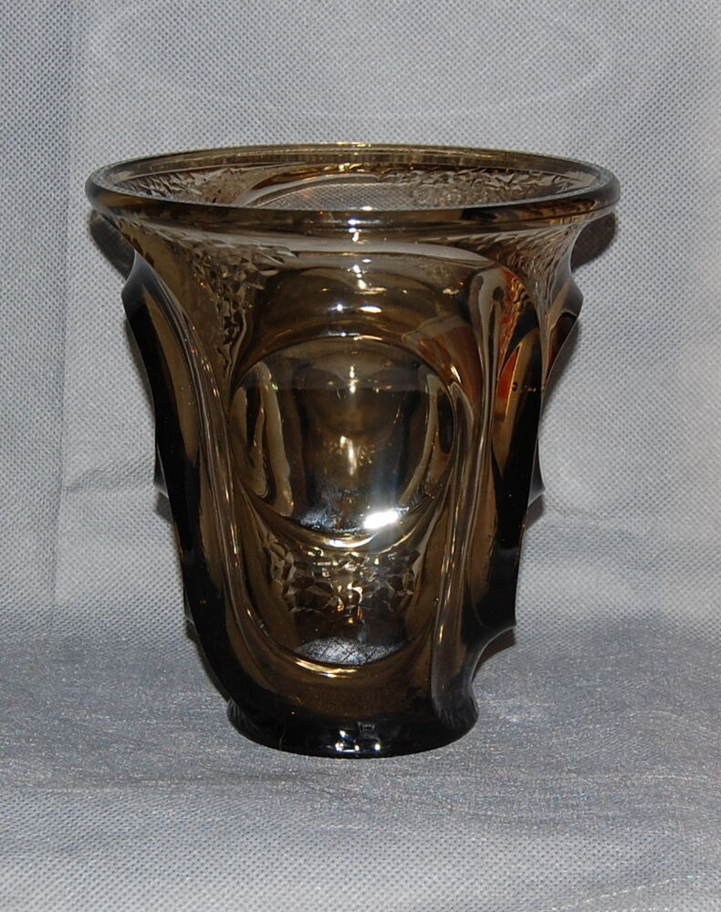 french art deco smokey grey glass vase possibly pierre d 39 avesn ebay. Black Bedroom Furniture Sets. Home Design Ideas