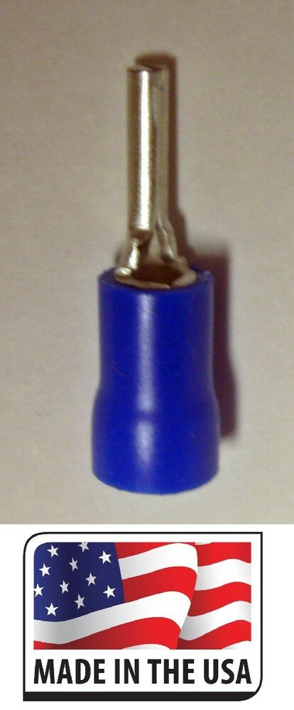 50 Pcs 16 14 Ga Blue Vinyl Insulated Pin Terminal Wire