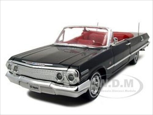 1963 chevrolet impala convertible black 1 24 diecast model. Black Bedroom Furniture Sets. Home Design Ideas