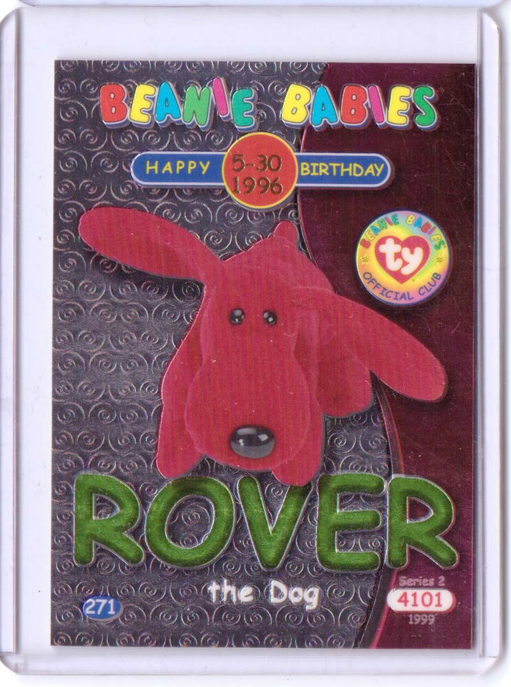 Ty S2 Beanie CARD INSERT Happy Birthday ROVER THE DOG
