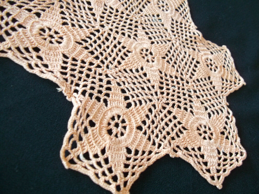 unusual 6 point star doily salmon color hand crochet 7 x 8 ebay. Black Bedroom Furniture Sets. Home Design Ideas