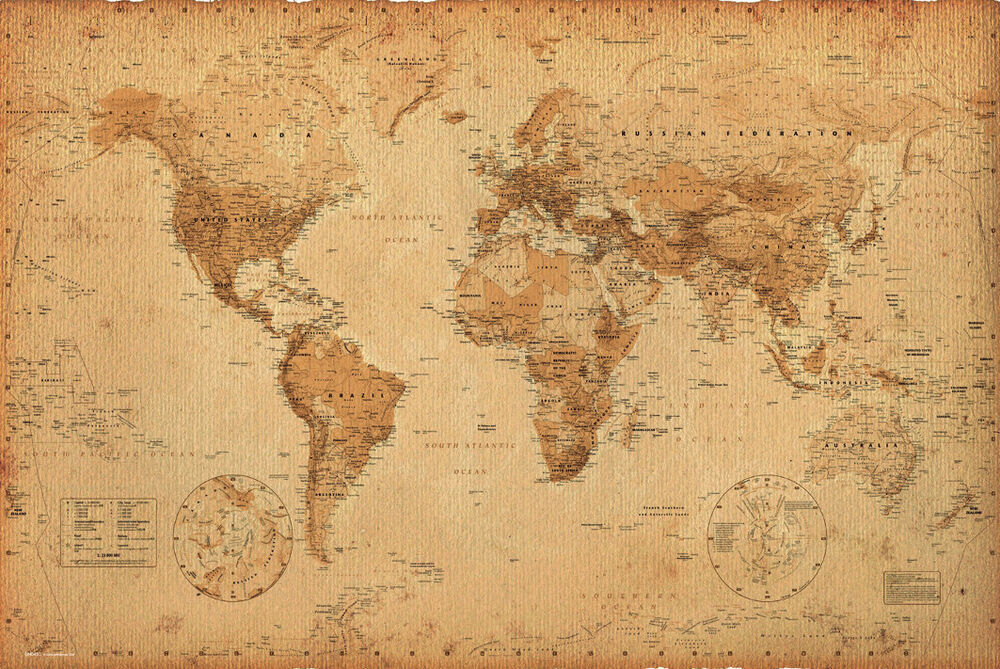 World Map Antique Style Poster Print 24x36 eBay