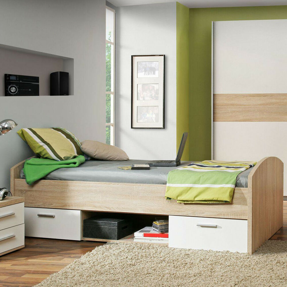 jugendbett winnie jugendzimmer bett in sonoma eiche und wei 90x200 cm ebay. Black Bedroom Furniture Sets. Home Design Ideas