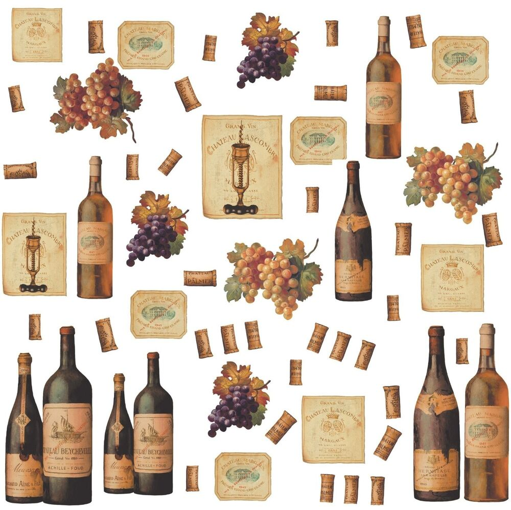 Wine bottles 56 big wall stickers dining room decor for Wine and dine wall art