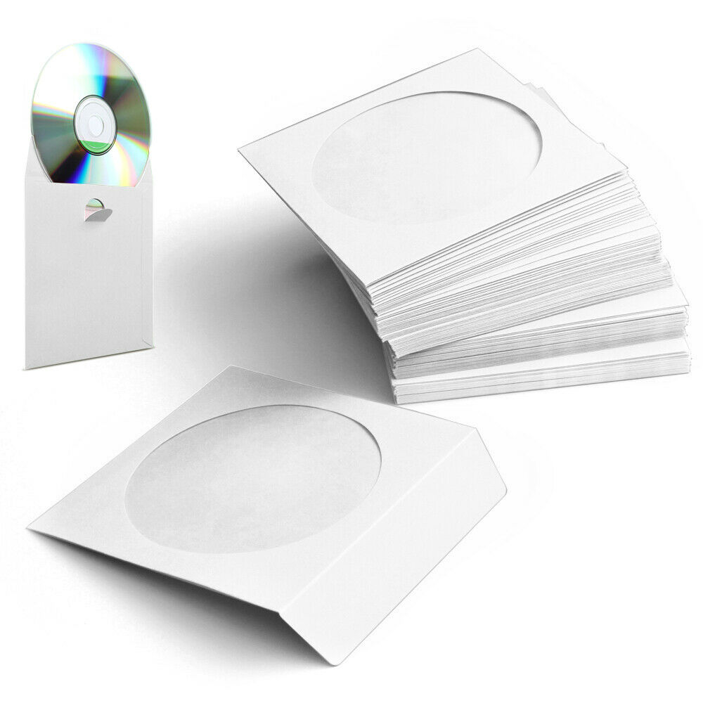white paper cd dvd sleeves envelope with clear window cut