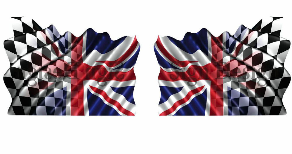 Pair Unique Union Jack Chequered Flag Each Flag 100mm X