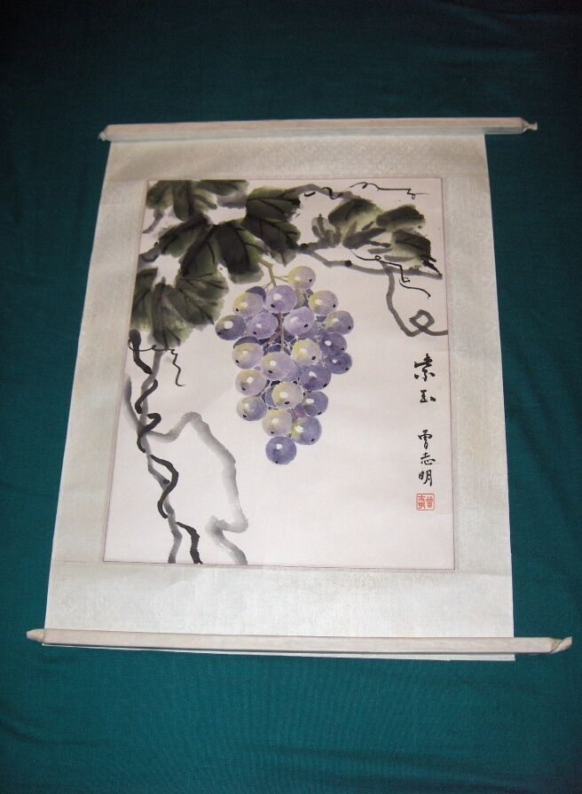 Vintage Asian Chinese Scroll Watercolor Art Painting Grapes 109 Signed ...