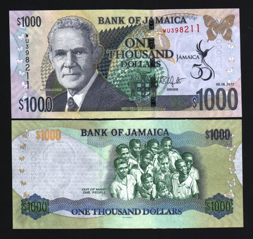 JAMAICA 1000 DOLLARS P92 2012 COMMEMORATIVE 50 BUTTERFLY ...