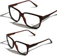 Square Tortoise Vintage Retro Fashion Frame Clear lens Sun-Glasses Nerd Smart