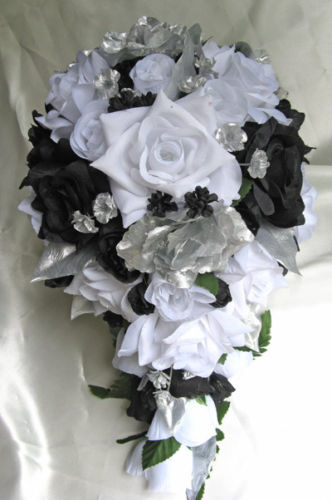 flower bouquets for weddings 21pc bridal bouquet wedding arrangements silk flower black 4143