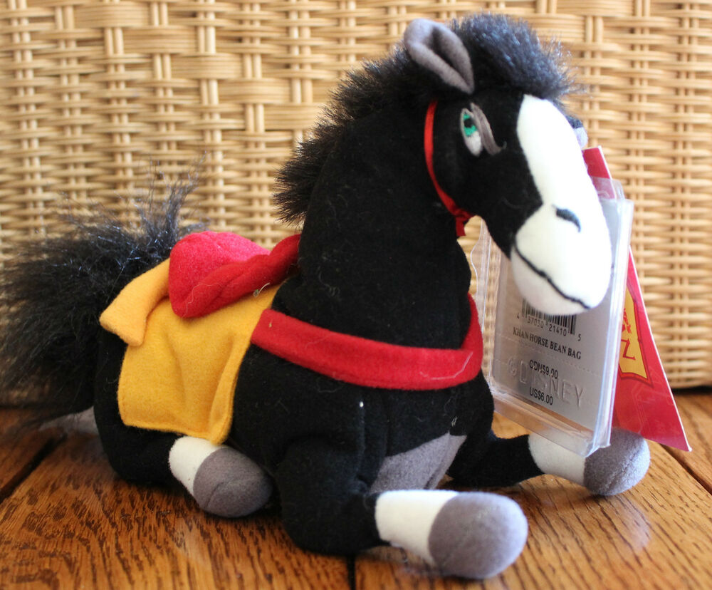 small 8 stuffed bean bag animal disney store khan horse mulan movie ebay. Black Bedroom Furniture Sets. Home Design Ideas