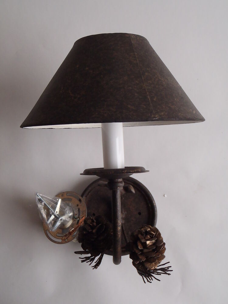 Wall Light Sconce Pine Cone Woodsy Candelabra 120v Shade