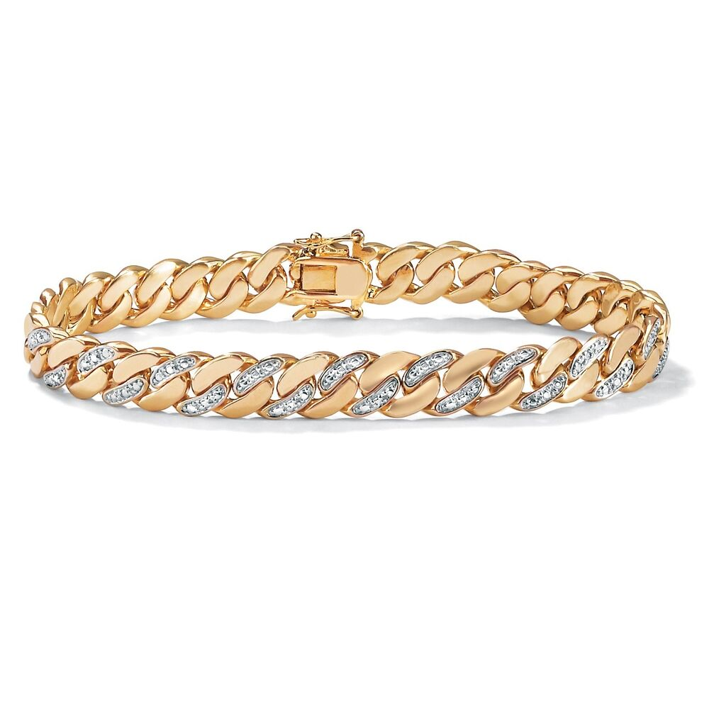 "MENS DIAMOND ACCENT 18K GOLD GP 8.5"" CURB LINK BRACELET 