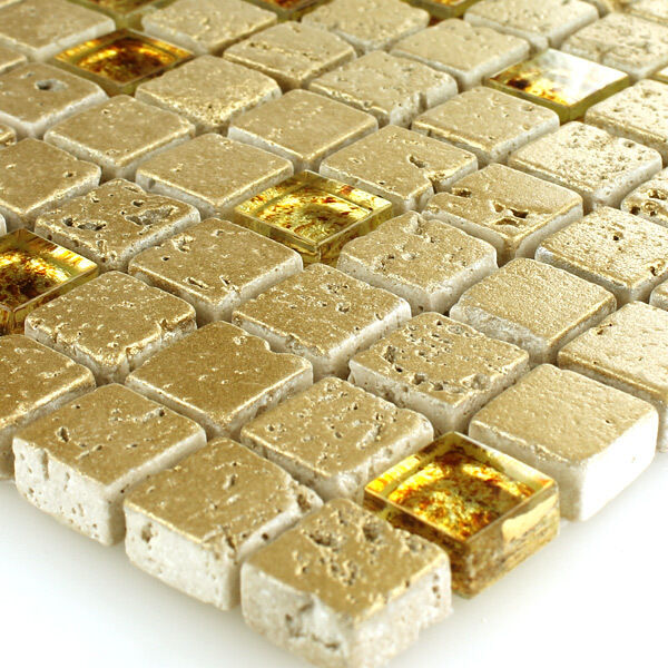 glas marmor mosaik fliesen gold 15x15x8mm ebay. Black Bedroom Furniture Sets. Home Design Ideas