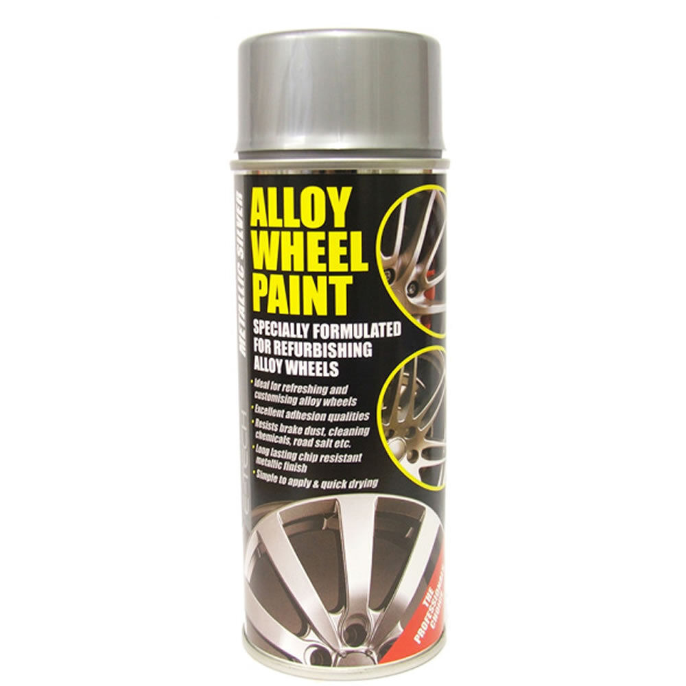 e tech car alloy wheel spray paint metallic silver 400ml. Black Bedroom Furniture Sets. Home Design Ideas