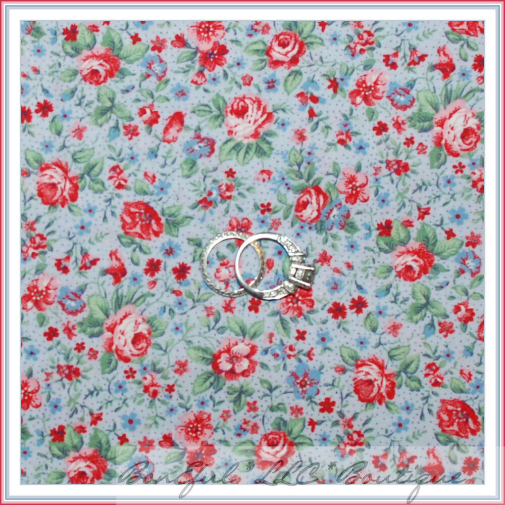 Muted Blue And Floral Red: BonEful Fabric FQ Cotton Quilt VTG S Calico Blue Pink Rose
