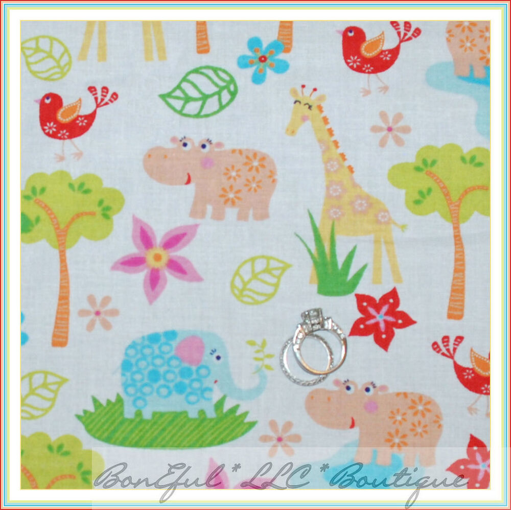 Boneful fabric fq cotton scenic baby nursery animal hippo for Nursery fabric