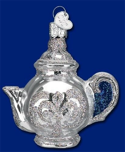 Silver Colored Old Fashioned Teapot Old World Christmas