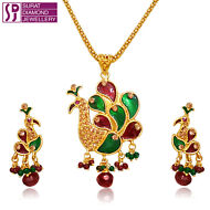 PEACOCK SHAPED NECKLACE SET.