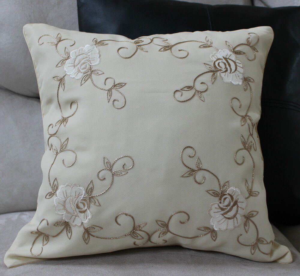 Rose embroidered pillow cover case accent decorative for Designer accent pillows