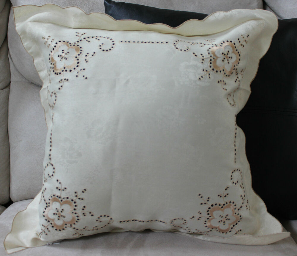 Flower Hemstitch Embroidered Pillow Cover Case Accent Decorative Home Decorator eBay