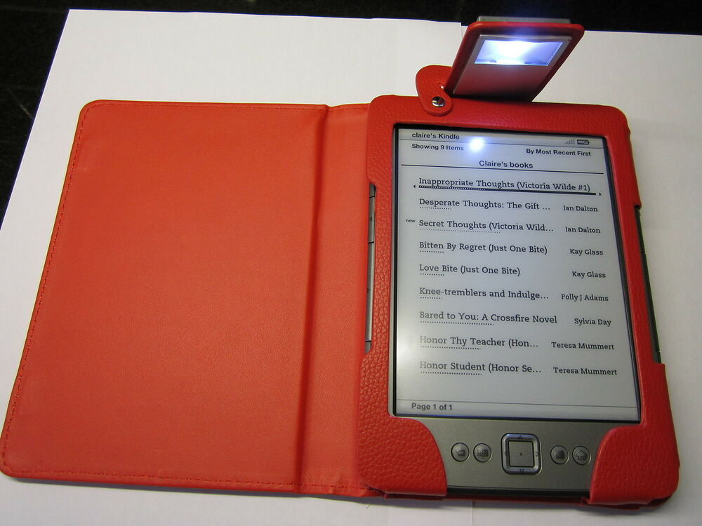 Red PU Leather Carry Case With Reading Light For Amazon