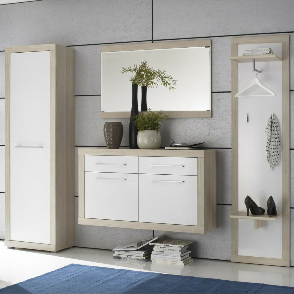 garderobe crema 4 teiliges set in sonoma eiche s gerau und. Black Bedroom Furniture Sets. Home Design Ideas