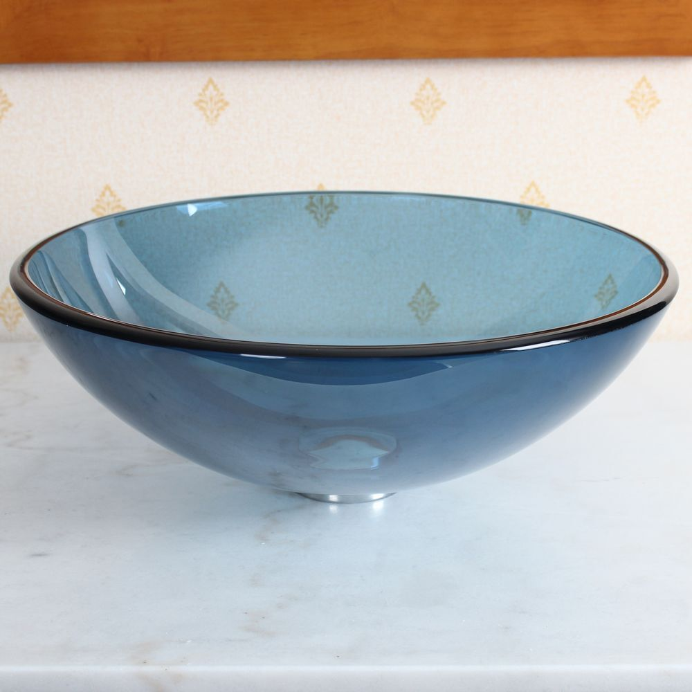 New bathroom clear blue tempered glass vessel sink basin for Latest bathroom sinks