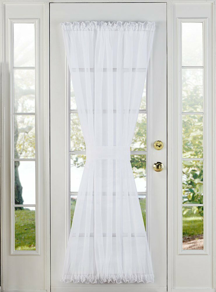 Sheer voile door panels curtains for french doors ebay for Door net curtains