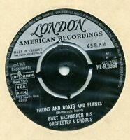 """Burt Bacharach-Trains And Boats And Planes UK 7"""" EX Cond"""
