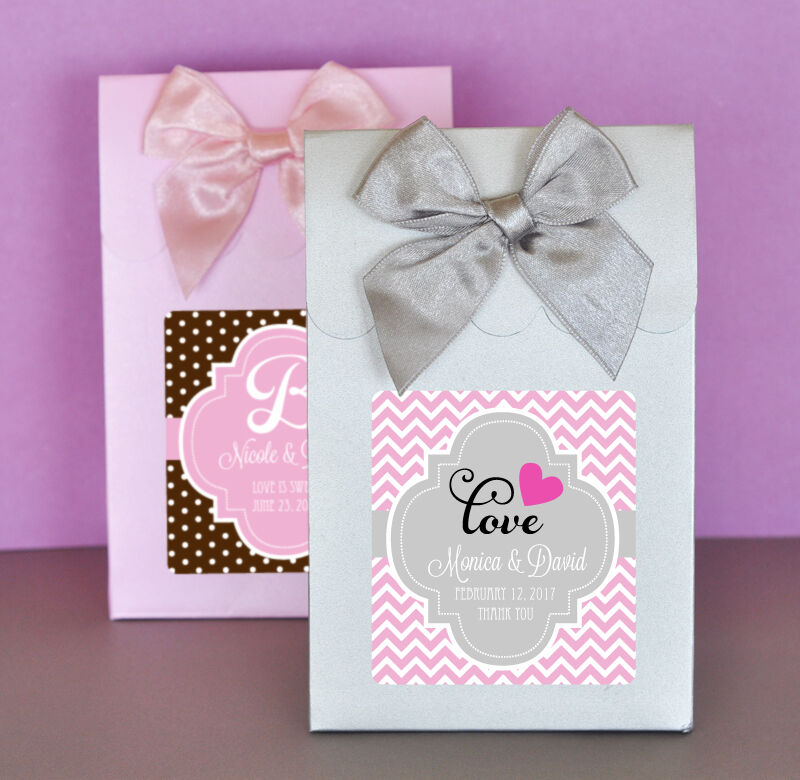 Personalized Wedding Favor Bags And Boxes : 24 Personalized Wedding Theme Candy Boxes Bags Favors eBay