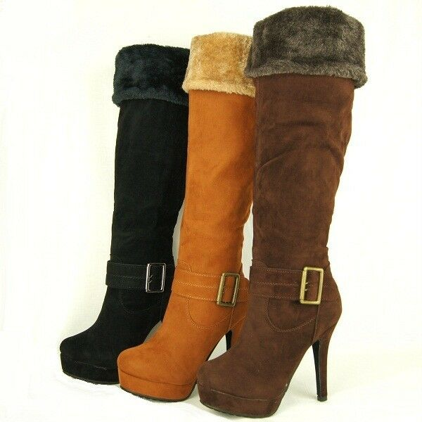 s the knee knee high platform boots with fur