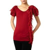 Pied A Terre House of Fraser Red Side Ruffle Designer Blouse Top Shirt Free Ship