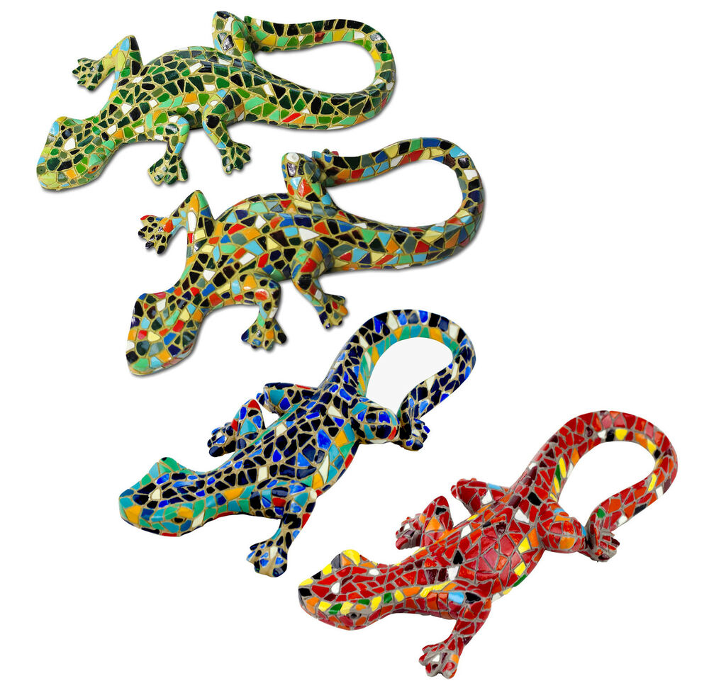 Garden Ornament Mosaic Lizard Gecko Colourful Resin Wall