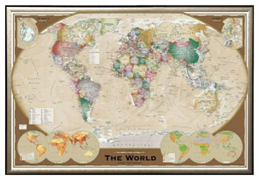 world map triple view educational office print in premium gold wood frame 24x36 ebay. Black Bedroom Furniture Sets. Home Design Ideas