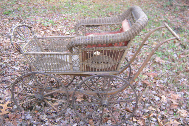 Antique Primitive Wood Iron Wicker Wheel Baby Carriage