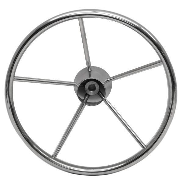 Destroyer Style 15 1 2 Inch 5 Spoke Stainless Steel Boat