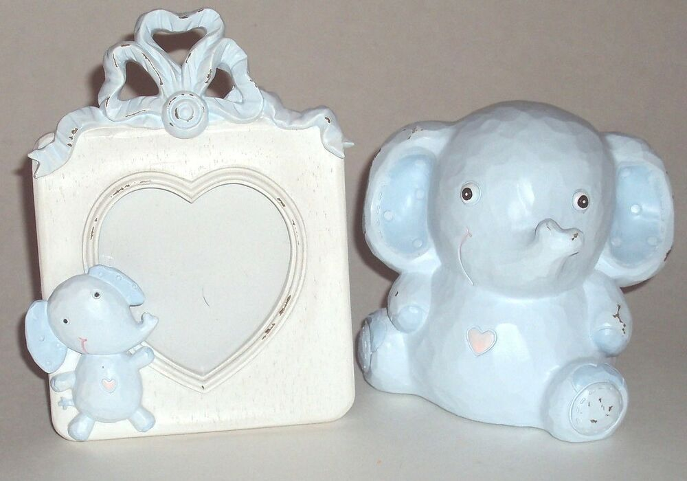 Baby Boy Infant Picture Frame Elephant Bank Blue Rustic