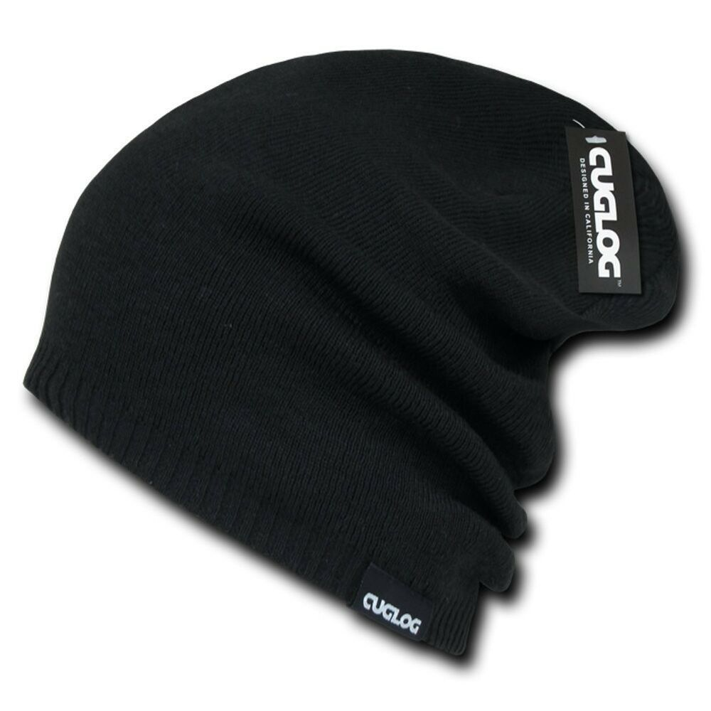 Details about Black Knit Skull Winter Ski Warm Long Baggy Acrylic Beanie  Beanies Cap Hat Hats a77602dd250
