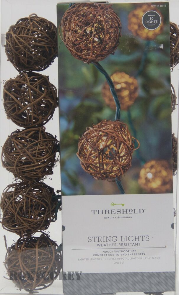 Home 10 Count Vine Ball String Indoor/Outdoor Lights Green Wire NIB eBay
