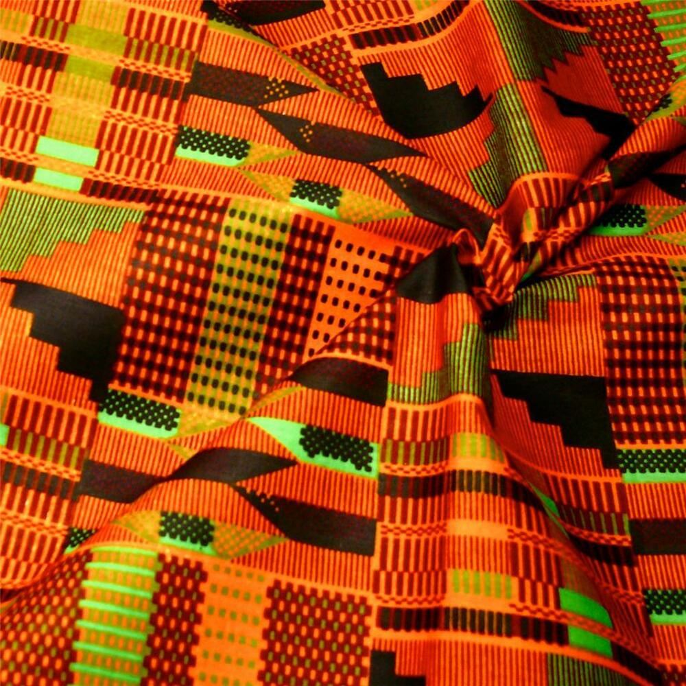 African Kente Cloth, Wax Dyed Cotton Fabric; Gorgeous ...