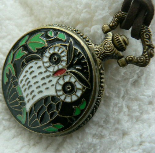 Unusual gift for her owl pocket watch leather necklace for Quirky retro gifts