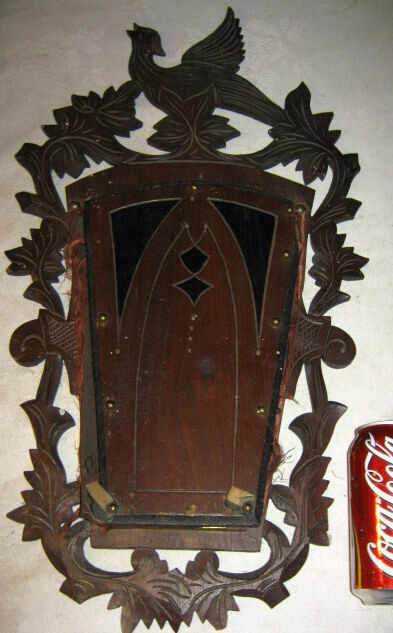 Antique Victorian Carved Black Forest Wood Bird Wall Art