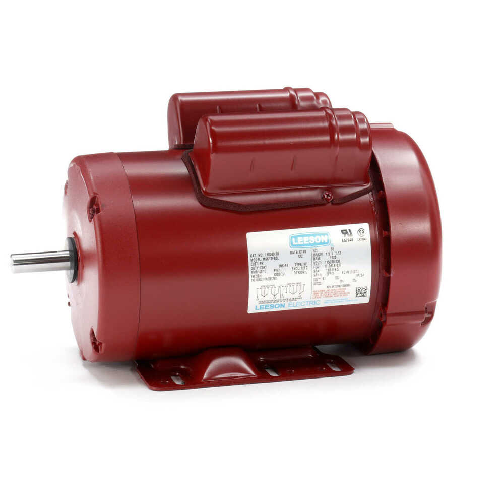 1 5 hp 1725 rpm 56h 115  230v leeson electric motor tefc