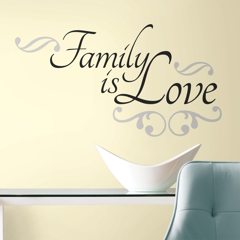 New FAMILY IS LOVE WALL DECALS Black Room Stickers Room