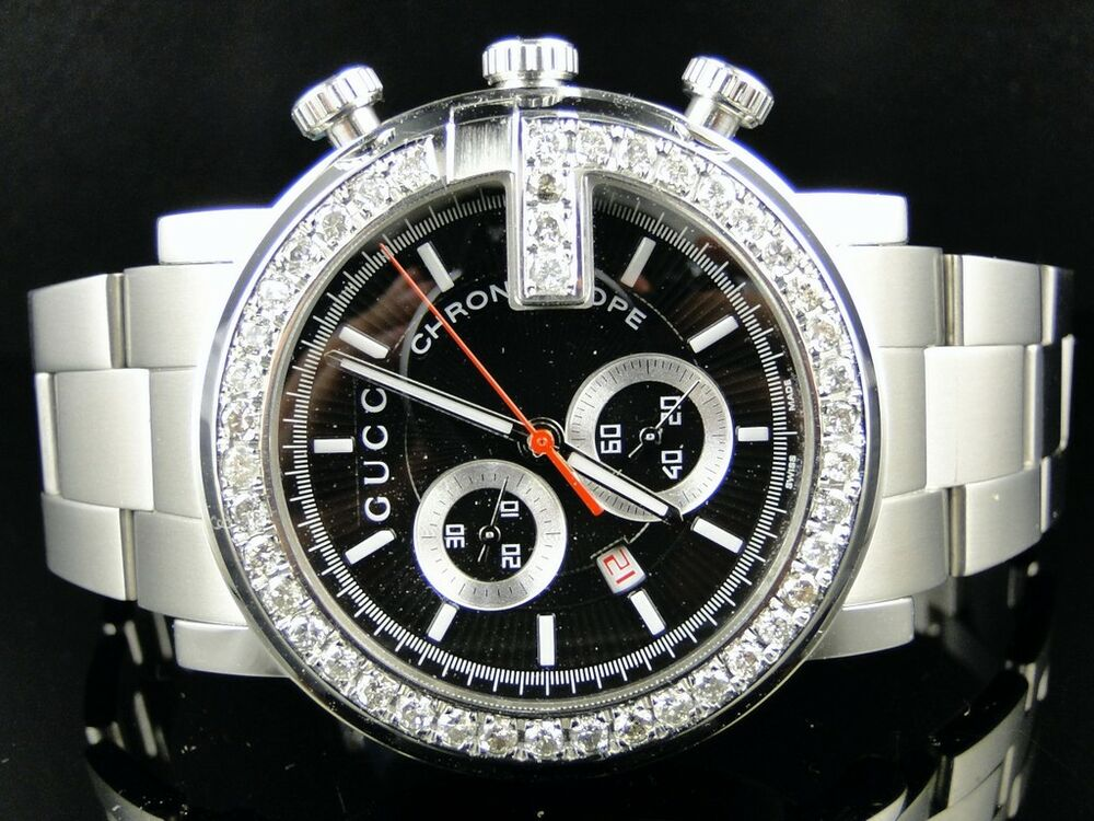 Mens 3.5 Ct Diamond 101G Gucci Ya101324 Chrono Watch ...