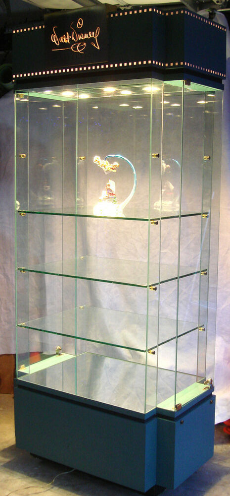 walt disney retail display case glass tower lighted for. Black Bedroom Furniture Sets. Home Design Ideas