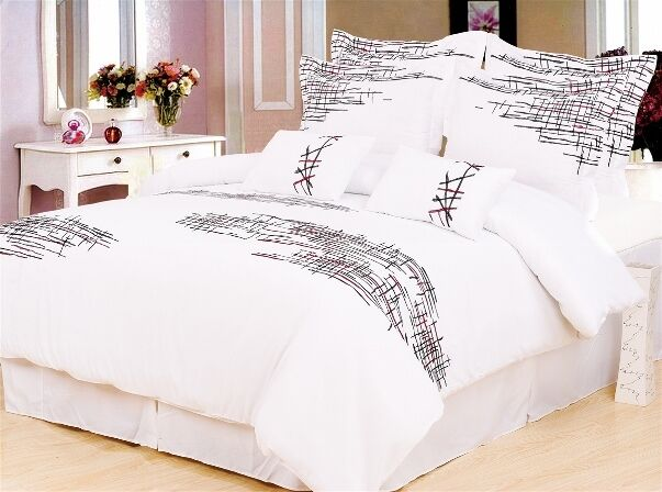 7pc White Red Black Broken Line Modern Design Duvet Cover Set Queen King Ebay