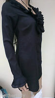 La Redoute BLACK smart fancy frill shirt button cotton dress UK 4 EU 34